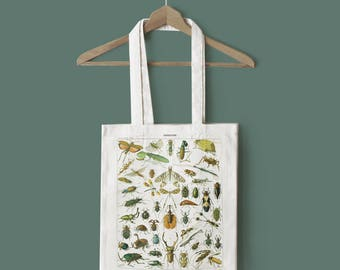 Insects Tote Bag - Insects Canvas Bag, Insect Tote Bag, Insect Bag, Bug Bag, Bugs Bag, Bug Tote Bag, Bugs Tote Bag, Entomology Bag, Print