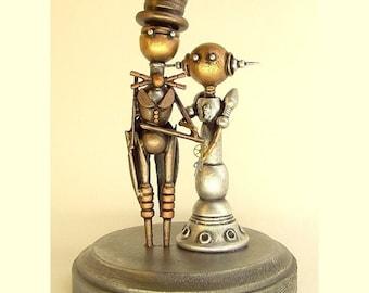 Robot Wedding Cake Topper Elegant Space Princess Bride Groom Top Hat Tails Wood Steampunk Sculpture