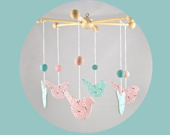 Baby mobile wood birds and cherry blossoms - pink and mint Green