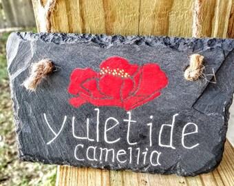 Yultide Camellia painted on slate door hanger