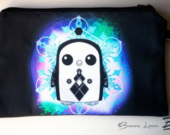 Gunter Geometry Zippered Pouch - adventure time penguin Clutch bag Purse Wristlet - Cosmetic pencil school - Bianca Loran Art