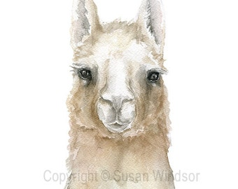 Llama Watercolor Painting 11 x 14 Giclee Print Reproduction - Farmhouse Nursery Wall Art