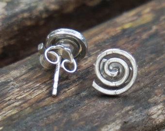 Spiral Stud Earrings, Silver Spiral Earrings, Spiral Studs, Silver Stud Earrings, Spiral Jewelry, Sterling Silver Earrings, Silver Earrings