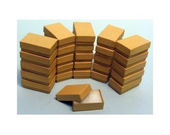 """100 Kraft Cotton Filled Jewelry Gift Boxes Size 3 1/4"""" X 2 1/4"""""""