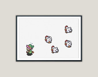 Link VS Chickens - Zelda Cross Stitch - PATTERN