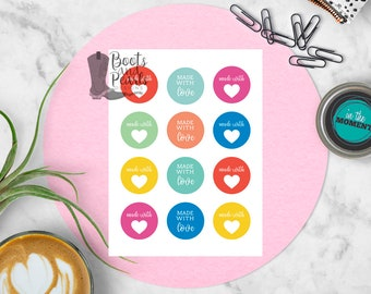 Made With Stickers, Planner Stickers, Stickers for Planner, Made With Love Stickers, Stickers for Gifts, Love Stickers
