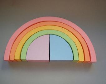 "Rainbow stacker 10""x5"". Wood rainbow. Sorting toy. Montessori toys"