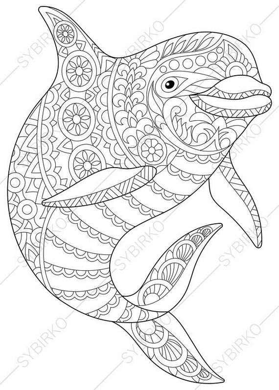 Ocean World. Dolphin. 2 Coloring Pages. Animal Coloring Book Pages For  Adults. Instant Download Print