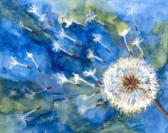 Dandelion Note Cards Watercolor - No. 1416   Make a Wish