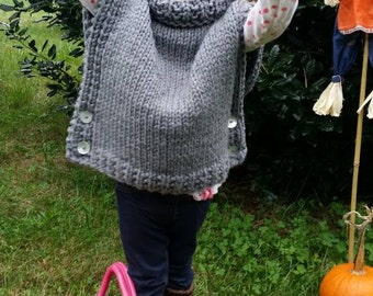 Trendy Adorable Bulky knit poncho/ sleeveless sweater  Available in toddler 2 thru adult .Perfect for layering.