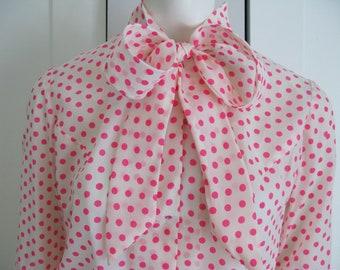 Vintage Hot Pink Polka Dot Bow Blouse 1950's Sz Medium