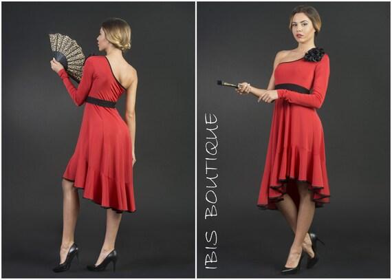 Salsa Red Knee Length Dress