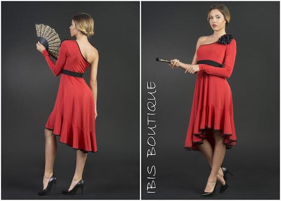 Spanische Damenkleid Latina rot tango / Salsa Kleid Flamenco