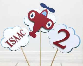 Airplane Centerpieces. Set of 3 Airplane Centerpieces. Airplane Decorations. Airplane Birthday Party Table Decor. Plane Birthday Centerpiece