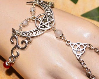 Triple Goddess Bracelet Ring - Handmade Pagan Jewellery Symbolising the Goddess as Maiden, Mother, and Crone for Pagan, Wicca, Witch