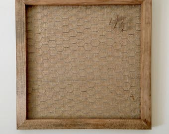 Open Frame Wire Frame   Linen fabric, Custom Color Open Wired Frame Distressed Wood, Chicken Wire Magnet Board Frame