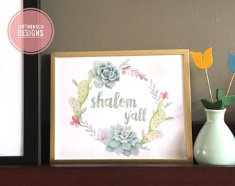 Jewish Decor, Shalom Y'all, Shalom Sign, Succulents, Summer Printable, Welcome Sign, Jewish Welcome, Hebrew Sign, Instant Download