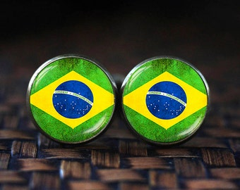 Flag of Brazil cufflinks, Brazilian Flag cufflinks, Country Flag cufflinks, Brazilian Patriotic gift