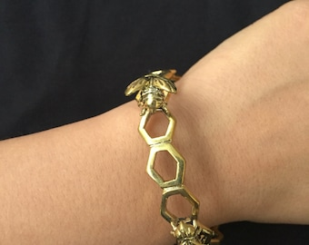 Brass Gold Honey Bee Bracelet