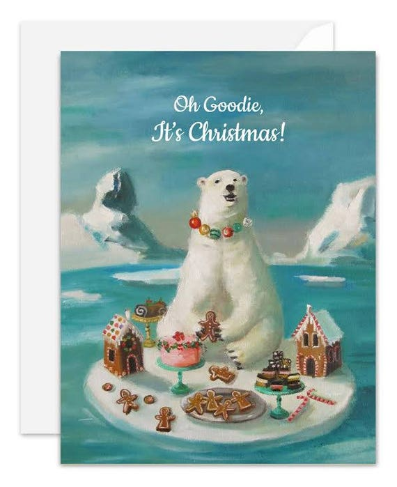 Goodie Bear. Christmas Card. SKU JH1149