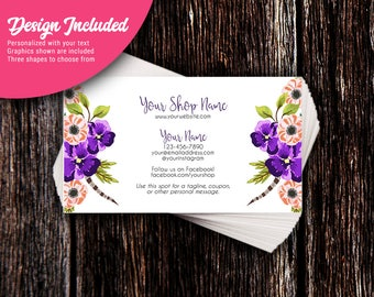 Business Cards | Custom Personalized Business Cards | Mommy Calling Cards | Social Media Cards | Pansies & Feathers