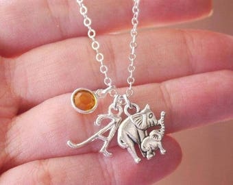 New Mom Necklace, New Mother Necklace, Mommy Baby Elephant Necklace, Mother Elephant, Elephant Necklace, Personalized, Letter Birthstone