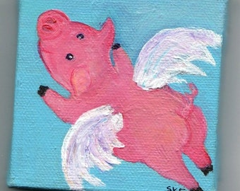 Flying Pig mini canvas art, Easel, when pigs fly original painting, pig with wings miniature painting, pig art SharonFosterArt