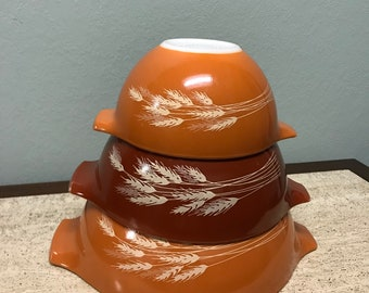 Autumn Harvest Cinderella Pyrex Bowls - Set of Three 442 443 441