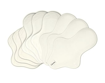 9 Cotton cloth pad set / Cloth menstrual pads set / Cloth mama pads / Cloth sanitary pads - 3 Light day, 3 Medium, 3 Heavy pads (White)