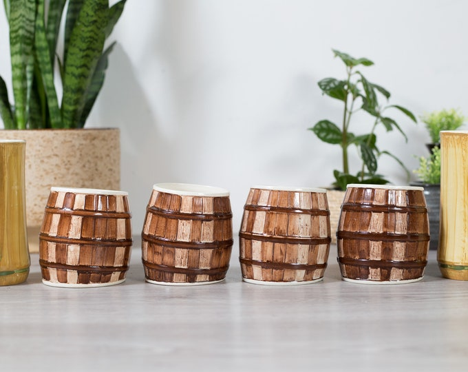 Vintage Cocktail Mugs - 6 Tropical Barrel and Grass Style Cups - Mid Century Modern Earth-tone Textured Vases Planters - Pirate Theme Party