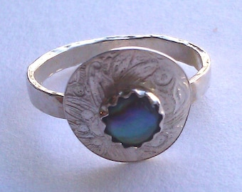 Abalone Shell & Silver Ring- Size 7 1/2