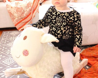 Hand Made Toddler Baby Girl Black and Gold Foil Paisley Print Velvet Peplum Jumper Long Sleeve Metallic Stretchy Size 0