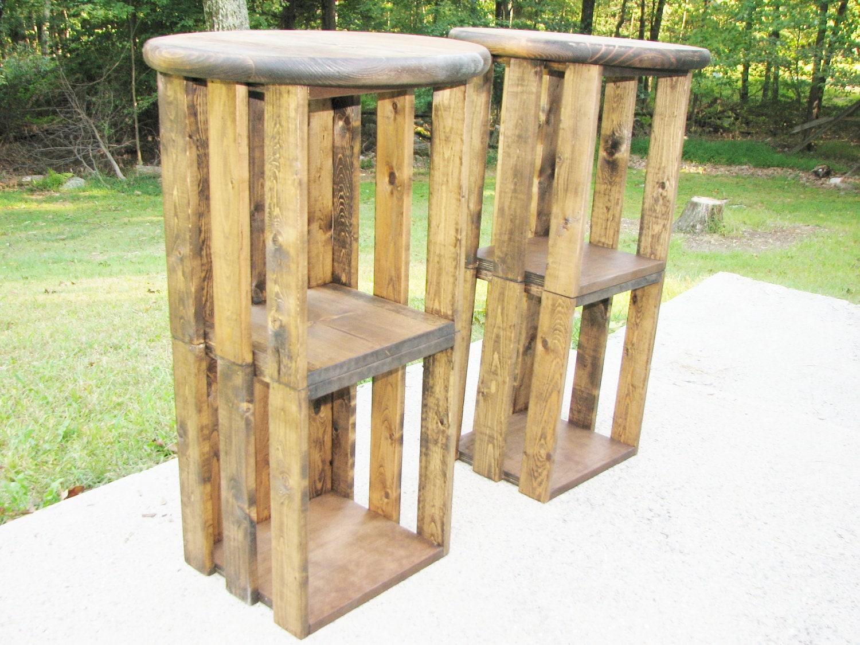 Popular Wood Bar Stool Farmhouse Rustic Industrial Crate VU62