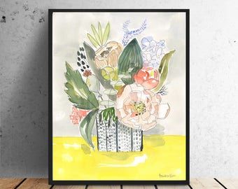 Watercolor Vase and Flowers Oh Happy Day Bouquet Art PRINT