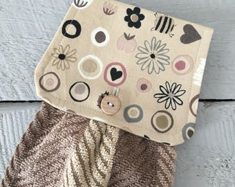 Hanging Kitchen Towel-  Modern Flowers Bugs Hearts Beige/ Brown Striped Terry Cloth Towel Button Closure