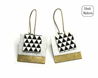 Paper triangle square earrings