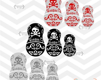 SKULL Embellished Nesting Dolls 3 sets in Dark Grey/Light Grey, Red/Grey, Black/White - vinyl decal Digital Instant Download Svg png jpeg