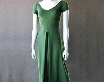 Long organic cotton dress, scoop neckline
