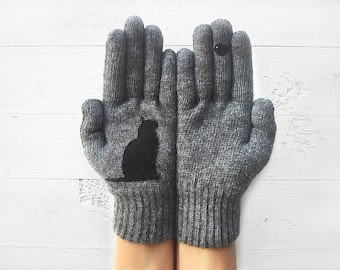 Cat Gloves, Inspirational Women's Gloves, Gift For Her, Mother's Day Gift, Cat Lover Gift, Inspirational Gift, Cat Gift Idea, Winter Gloves
