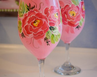 Hand Painted Wine Glass Set in Hot Pink Floral Design