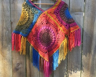 Crochet Poncho~One of a Kind~Ready to ship~FREE SHIPPING
