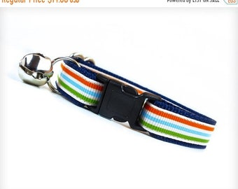 "SALE 20% Off - Cat Collar - ""Rock the Casbah"" - Sporty Stripes in Green, Blue & Orange on Blue"
