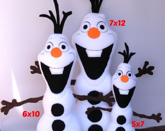 Olaf Snowman Frozen ITH Stuffed Doll Embroidery Design