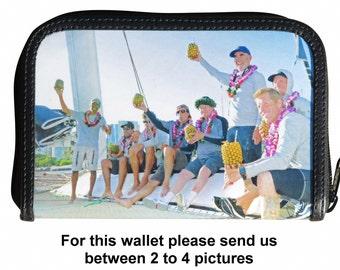 Medium custom printed zip wallet with your pictures on it - FREE SHIPPING - customized bride wedding honeymoon honey moon memories gifts mug