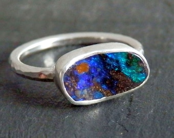 Australian boulder opal ring / opal ring / October birthstone ring / boulder opal jewelry / flashy opal ring / ready to ship jewelry