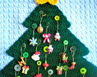 PATTERN: Advent Calendar, modern holiday decor, button tree wall hanging, Countdown to Christmas, InStAnT DoWnLoAd Permission to Sell