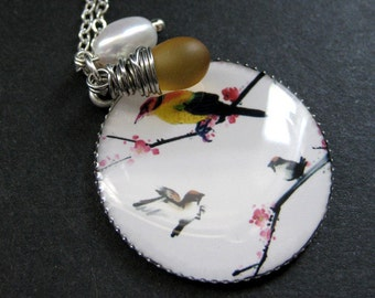 Bird Necklace. Song Bird Necklace with Clouded Amber Teardrop and Fresh Water Pearl. Handmade Jewelry.