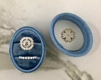 Velvet Ring Box Oval DOUBLE  Hand Made Keepsake Velvet Ring Box Engagement Ring Wedding Ring Antique French Blue