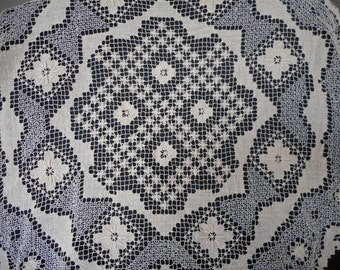 Vintage Handmade Knotted Filet Lace Tablecloth / Doily...Ecru Cotton...Shabby Chic Lace Tablecloth...