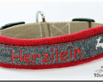 "Dog collar in bavarian style, gray-red, embroidered with ""HERZILEIN""."